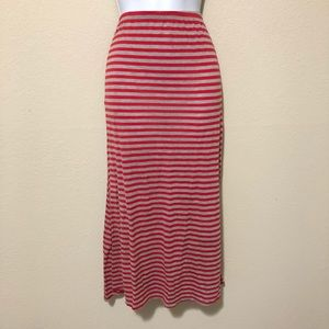 Striped soft maxi skirt